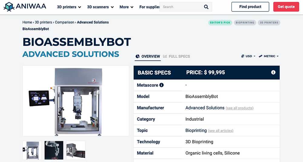Aniwaa features BioAssemblyBot 400