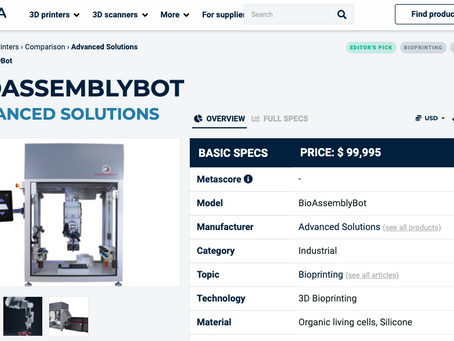 Aniwaa features BioAssemblyBot in Buyer's Guide