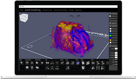 TSIM 3D CAD software for bioprinting displaying a 3D cardiac tissue model on a Microsoft Surface Pro X