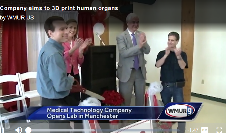 WMUR screenshot of Michael Golway and Dean Kamen opening the ARMI Advanced Solutions facility in Manchester, NH