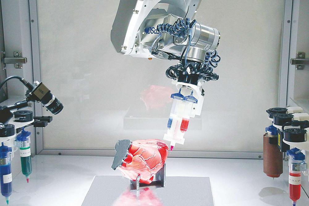 BioAssemblyBot bioprinting on a model heart