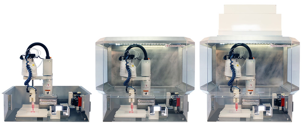 BioAssemblyBot® 200 takes three forms (left to right) biosafety cabinet, enclosed, and enclosed with HEPA filtration.