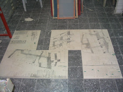 architectural plans printed on tiles
