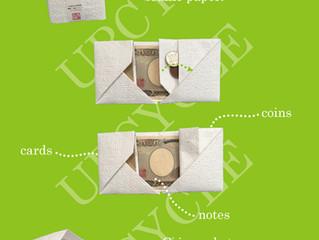 点字紙をアップサイクルした折財布です