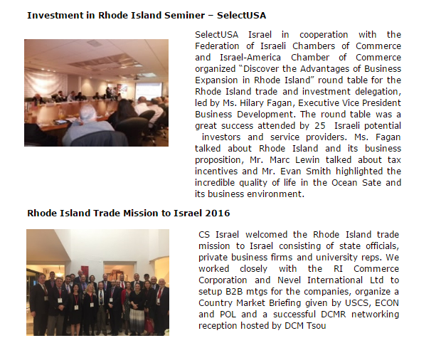 Rhode Island Business Mission to Israel Covered by U.S. Commerce in Tel Aviv