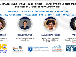 Webinar:  Israeli and RI Women in Innovation Helping to Build Entrepreneurial Business in Underserve