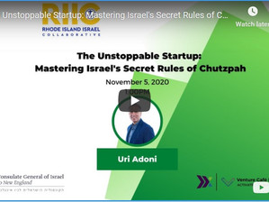 Recording What Can We Learn from Israel's Innovative Startup Culture? With Author Uri Adoni