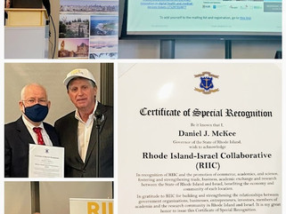 The RIIC are honored to have received a citation of appreciation from Governor of Rhode Island