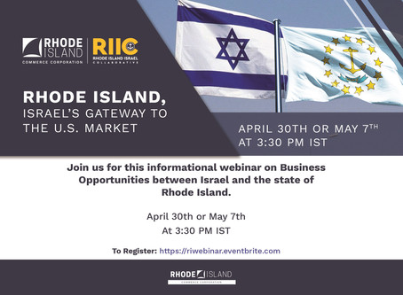 Rhode Island/Israel's Gateway to the U.S. Market.  Join us for this informational webinar on Busines