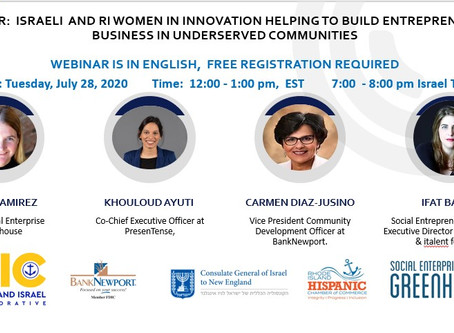 Webinar:  Israeli and RI Women in Innovation Helping to Build Entrepreneurial Business