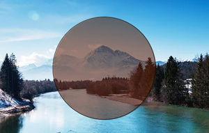 Imatge simulada de la visió amb una lent de color marró