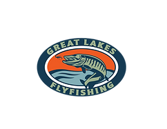 Great Lakes Fly Fishing Logo is an oval with  a jumping Musky fish chasing a fly inside.