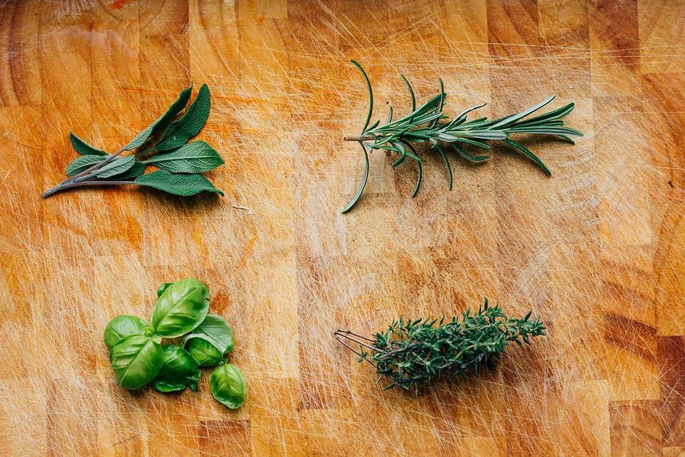Wild herbs on wood