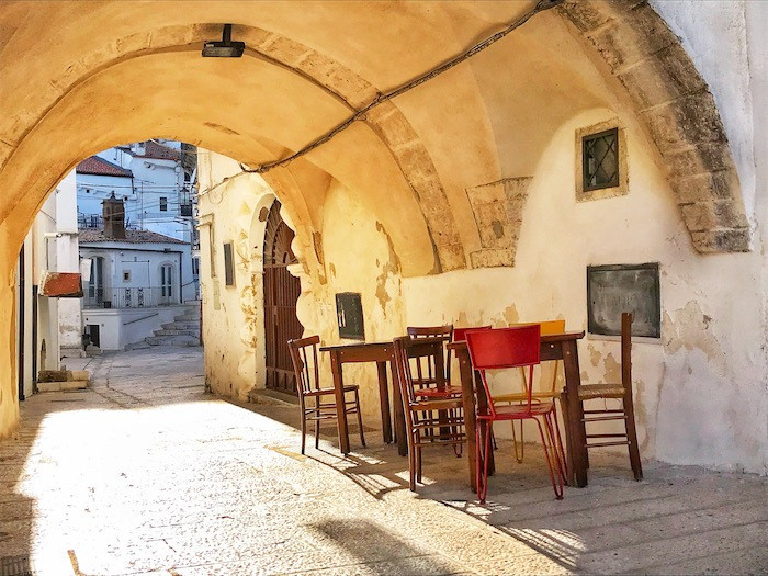 A scene of everyday life in the ancient pilgrimage city of Monte Sant'Angelo in the region of Puglia, Italy.