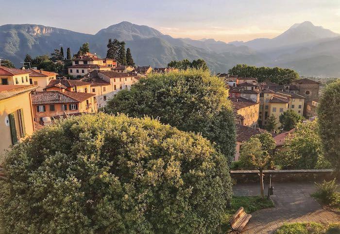 italian mountain village at sunset