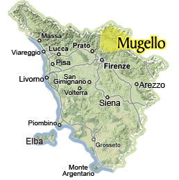 map of Tuscany highlighting the hidden area of Mugello in the north