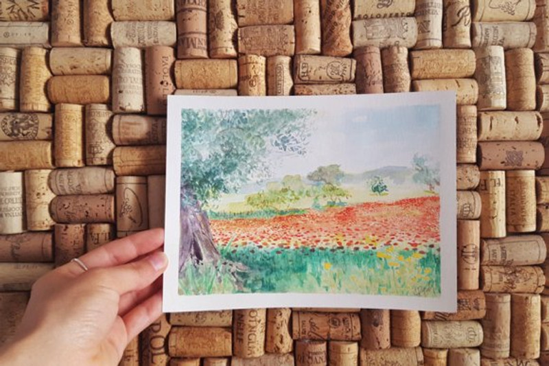 watercolor painting of poppy fields and olive tree