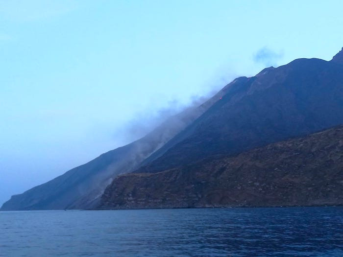 smoke rising from the volcanic island of Stromboli