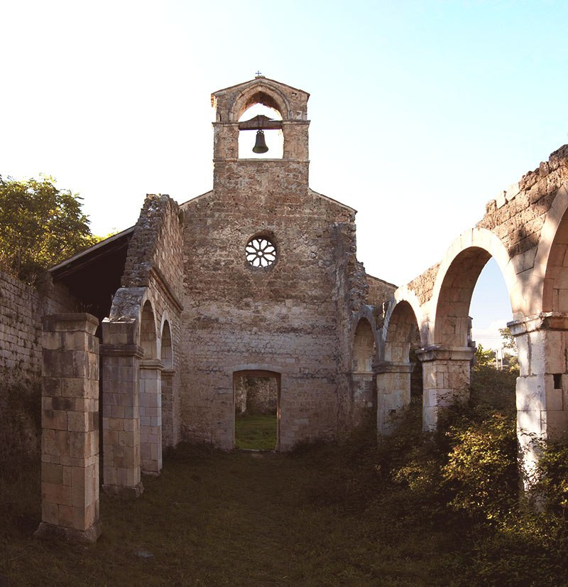 abandoned church ruins abruzzo italy authentic