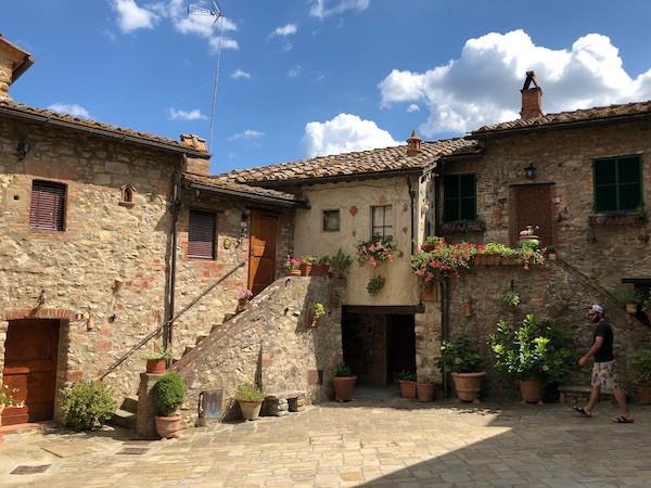 quaint Italian stone buildings on a sunny day