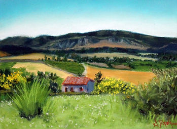 Pastel painting of a farmhouse in Tuscan countryside