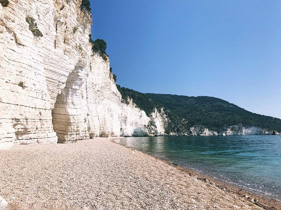 white cliff beach in apulia puglia italy