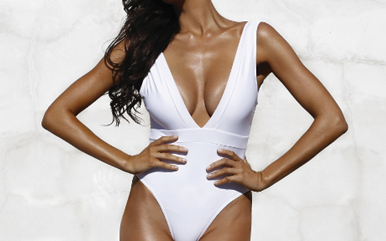 Tuscan Tan - Model in White Bathing Suit
