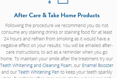 teeth whitening after care and take home products