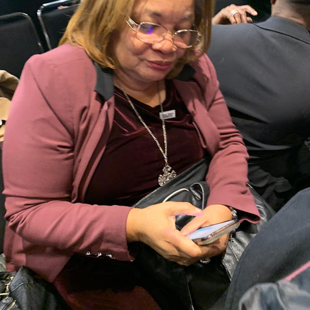 Me with Alveda King TYPING IN MY NUMBER.