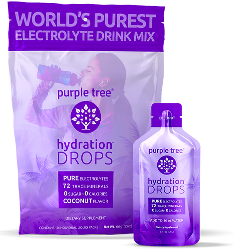 Electrolyte Hydration Drops by Purple Tree - Coconut Flavor (10 To-Go Packs))