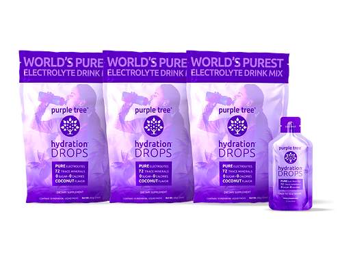 Electrolyte Hydration Drops by Purple Tree - Coconut Flavor (30 To-Go Packs)