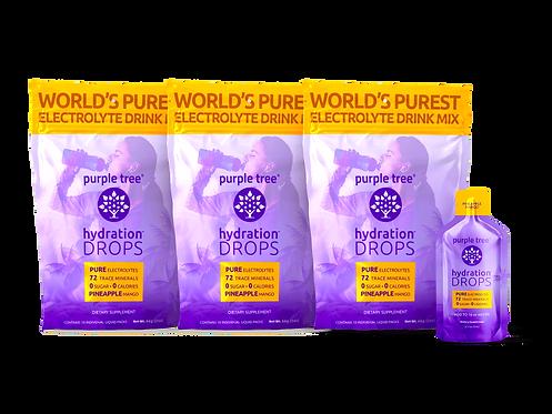 Electrolyte Hydration Drops by Purple Tree (Pineapple Mango) - 30 Packs