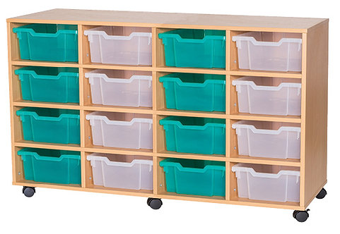 8 High Fixed Shelf Quad Unit - Mobile - Oak Wood/Oak Edge