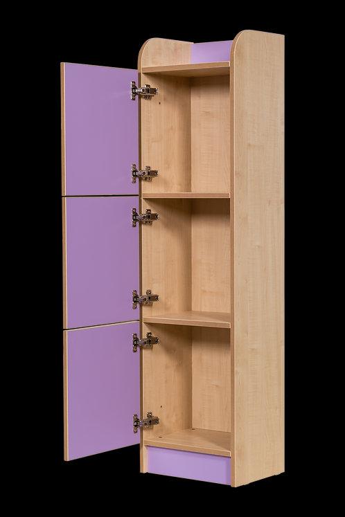 KubbyClass 1500mm High 3 Door Locker with Finger Handles - Maple/Lime