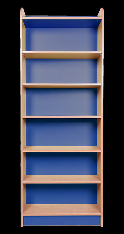 2000mm High Single Sided Bookcase - Beech/Blue Finish