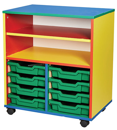 8 Tray Mobile Double Unit with Shelf