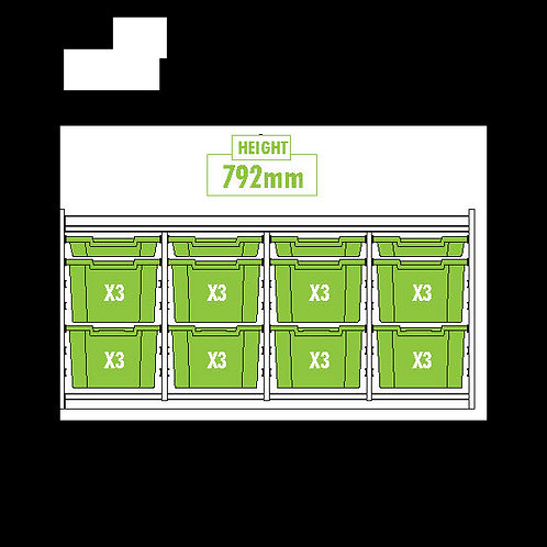 KubbyClass Triple Column Combination Tray Unit (4 x std, 8 x X3 Trays)