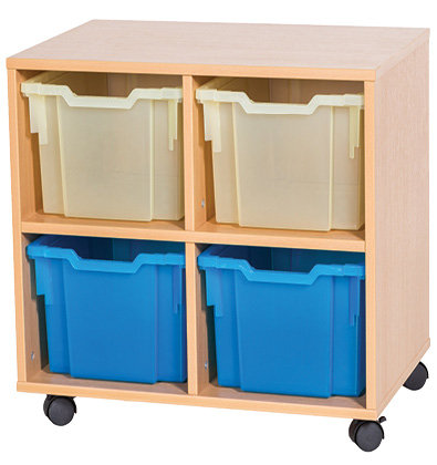 6 High 4 Extra Deep Tray Unit - Mobile - Beech