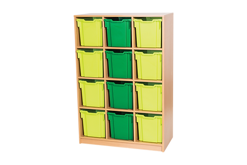 12 High Triple Tray Storage Unit - Static - Beech