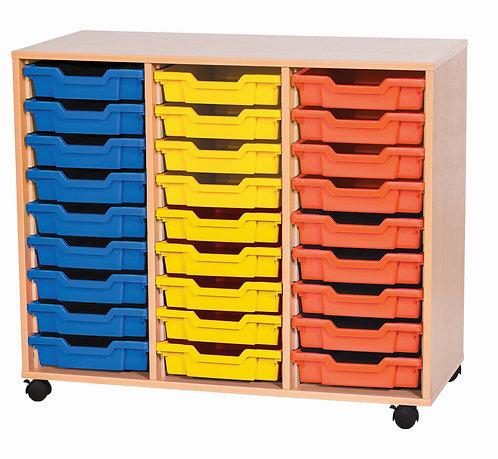 9 High Triple Tray Storage - Mobile - Doors - Maple Wood/Maple Edge