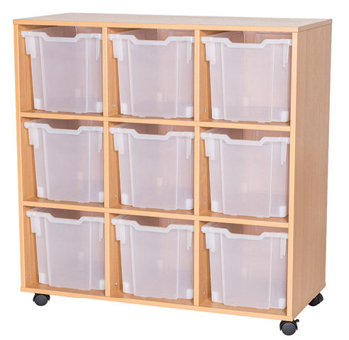 12 High Triple Tray Storage - Mobile - Maple Wood/Maple Edge