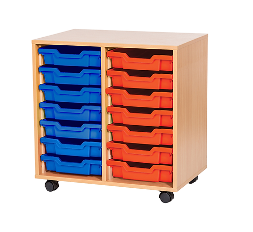 7 High Double Tray Storage - Mobile - Maple Wood/Maple Edge