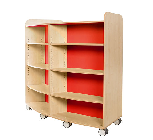 KubbyClass 1500mm High Curved Bookcase - Maple/Maple