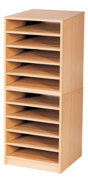 10 Fixed Shelves A2 Paper Storage - Mobile
