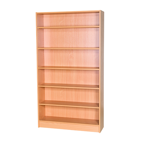 1800mm Static Bookcase White - White Wood/White Edge