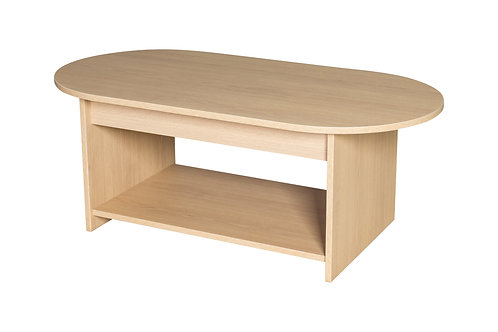 1200mm D-End Premium Coffee Table with Shelf
