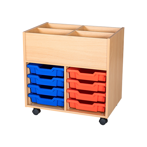 8 Tray Mobile Book Trolley