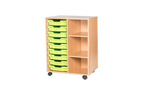 9 High Double Tray Storage - Mobile - Beech