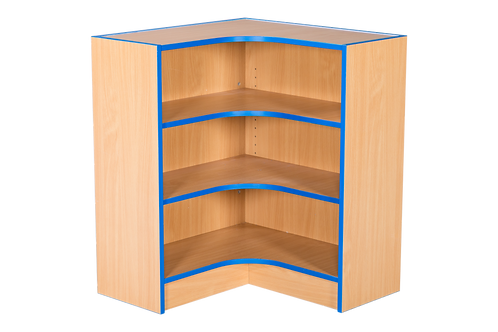 Flat Top Internal corner Bookcase with Adjustable Shelves