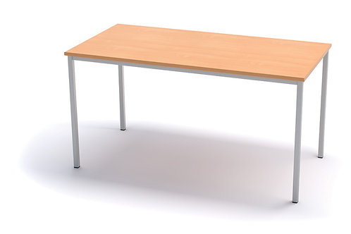 1200mm x 600mm Classroom Table - White Frame - Beech Top - 760mm High